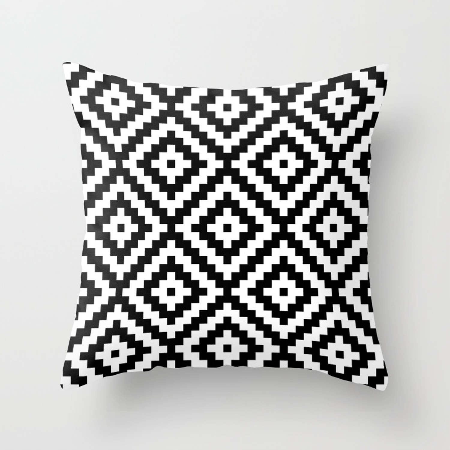 59fe8abe9 Aztec Block Symbol Ptn BW II Throw Pillow by nataliepaskell | Society6