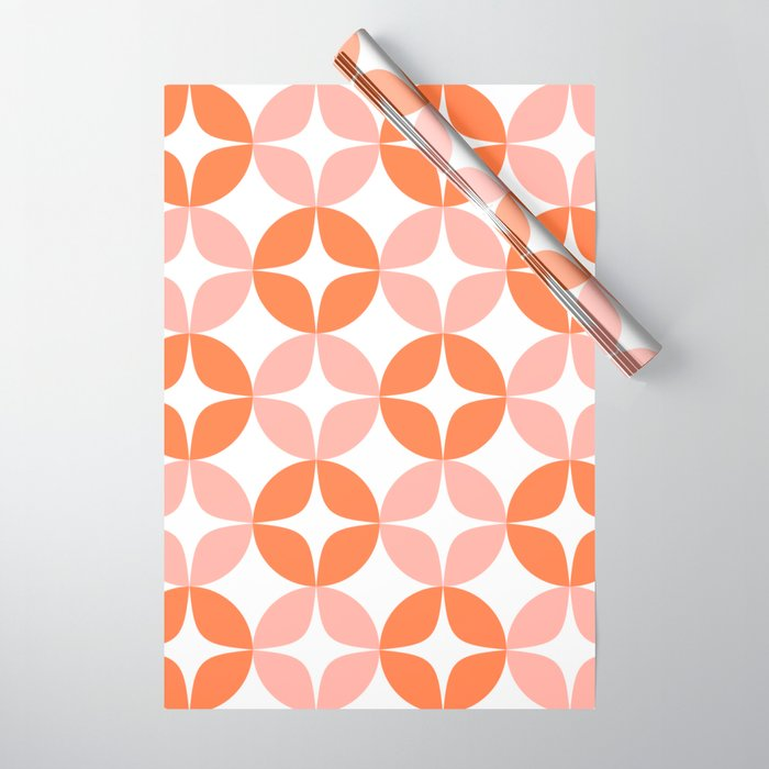 Mid Century Modern Motif Pattern in Burnt Orange and Blush Wrapping Paper