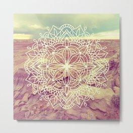 Rain Dance Desert Mandala Metal Print