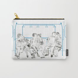 Watercolor Illustration of people on the subway playing phones reading resting kissing Carry-All Pouch