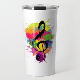 Treble Clef Colorful Paint Splatters Music Theory Travel Mug