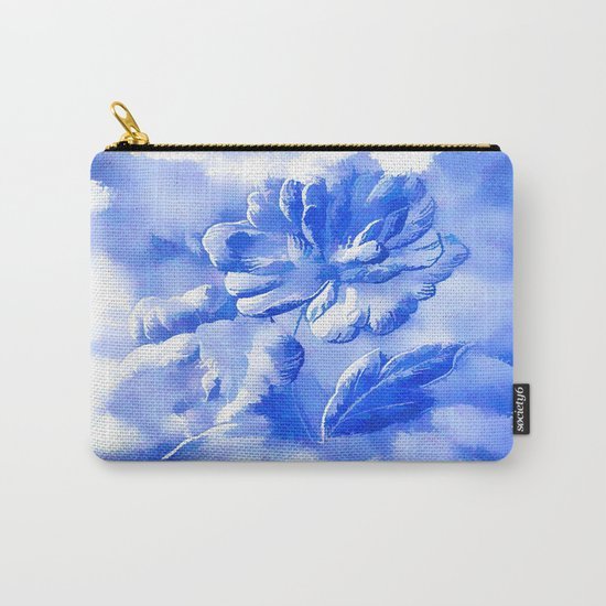 Cyan Painterly Flower Abstract Carry-All Pouch