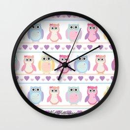 Cute Owls by Nat Williamson Wall Clock
