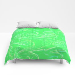 Neon green abstract Comforters