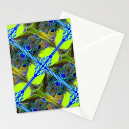 ART NOUVEAU FLYING GREEN PARROTPEACOCK FEATHER CHARTREUSE ART Stationery Cards