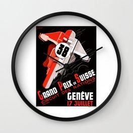 1938 Swiss Grand Prix Motorcycle Race Poster Wall Clock