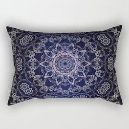 Glowing Nirvana Mandala On Deep Blue Textured Background Rectangular Pillow