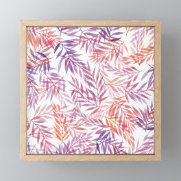 Watercolour Ferns   Orange and Purple Framed Mini Art Print