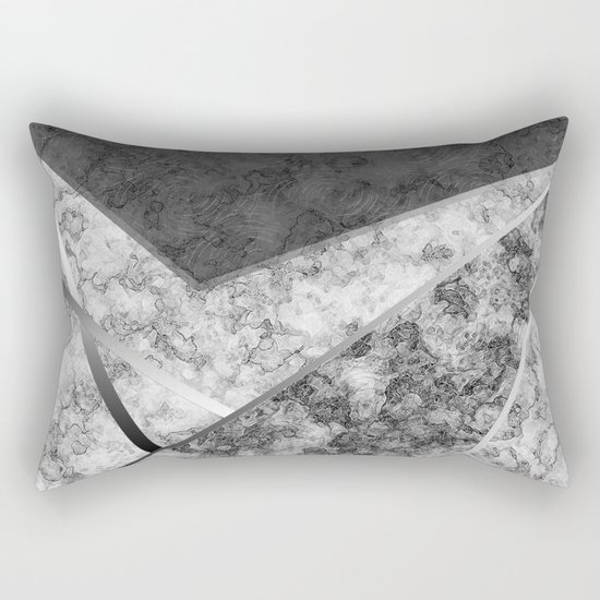 Combined abstract pattern in black and white . Rectangular Pillow