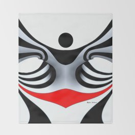 Black White and Red Geometric Abstract Throw Blanket