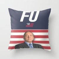 house of cards Throw Pillows featuring House of Cards / Campaign Poster I by Earl of Grey