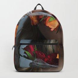 Head flower pink lips blond girl Backpack