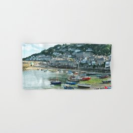 Mousehole, Cornwall. English harbour seascape. Hand & Bath Towel