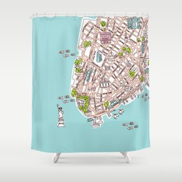 Fun New York City Manhattan street map illustration Shower Curtain