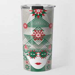 Christmas woman tree Travel Mug