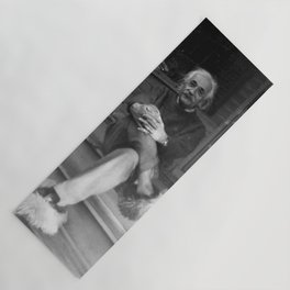 Albert Einstein in Fuzzy Slippers Classic Black and White Photography Yoga Mat