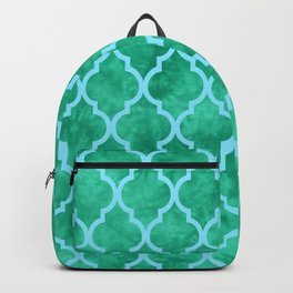 Classic Quatrefoil Lattice Pattern 909 Mint Green and Blue Backpack