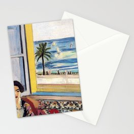 Seated Woman, Back Turned to the Open Window of Ocean & Seaside by Henri Matisse Stationery Cards