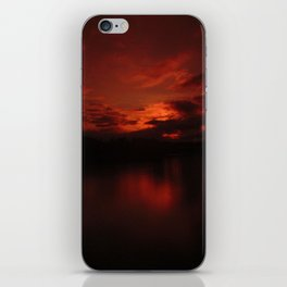 Dark Red Sunset in Montana, Water Reflection, Hues of Red, Sailor's Delight iPhone Skin
