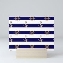 Anchor. Nautical,marine,sealife,ocean,sail,ships pattern  Mini Art Print