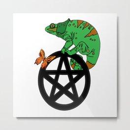 Chameleon On A Pentacle Metal Print