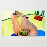 ramen Area & Throw Rugs featuring Anteater by Big AL