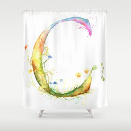 Letter C watercolor - Watercolor Monogram - Watercolor typography - Floral lettering Shower Curtain