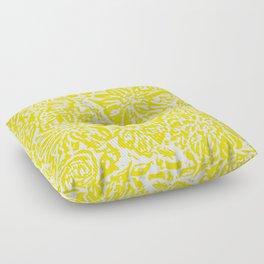 Marigold Lino Cut, Mustard Yellow Floor Pillow