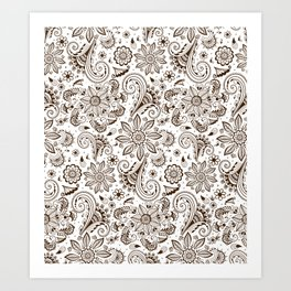 Mehndi or Henna Flowers Art Print