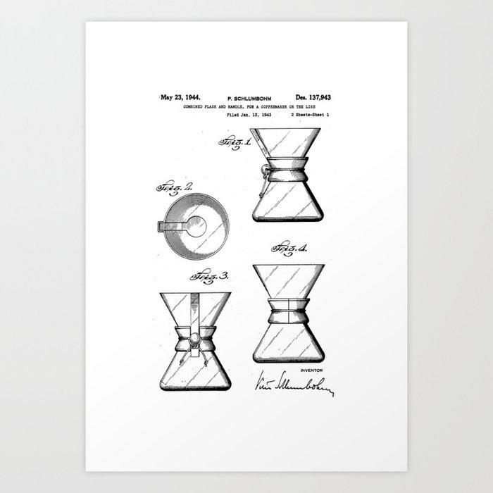 Chemex Coffee Maker - Original Patent/Blueprint Artwork  Kunstdrucke