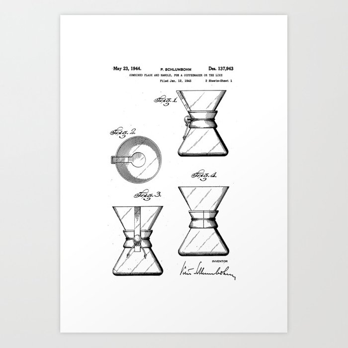 Chemex coffee maker original patentblueprint artwork art print by chemex coffee maker original patentblueprint artwork art print malvernweather Choice Image