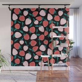 Pink strawberry pattern on black background, tutti frutti trend! Wall Mural