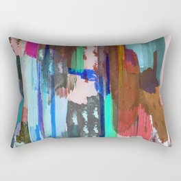 Brushed multicolor abstract painting Rectangular Pillow
