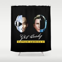 bucky Shower Curtains featuring Up All Night to Get Bucky by robin