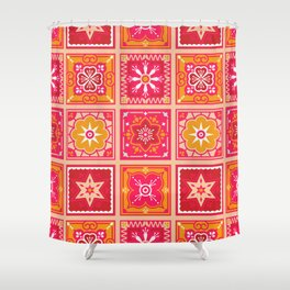 Talavera Mexican Tile – Hot Pink & Orange Palette Shower Curtain