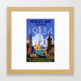 World's Fair Chicago 1934, Tour the World at the Fair - Vintage Advertising Printable Poster Framed Art Print