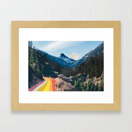 1960's Style Mountain Collage Gerahmter Kunstdruck