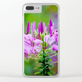 Purple Spider Flower Clear iPhone Case