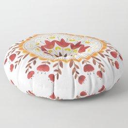 Autumn Folk Mandala White Floor Pillow
