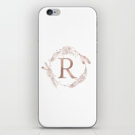 Letter R Rose Gold Pink Initial Monogram iPhone Skin