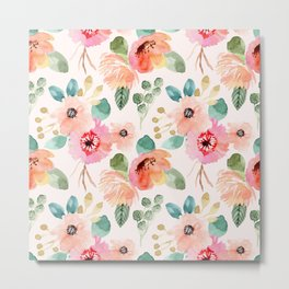 peachy watercolor floral Metal Print