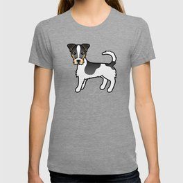 Tricolor Rough Coat Jack Russell Terrier Dog Cute Cartoon Illustration T-shirt