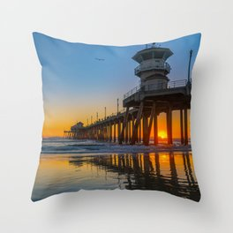 Soaring Seagull at Sunset Throw Pillow