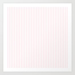 Light Soft Pastel Pink and White Mattress Ticking Art Print