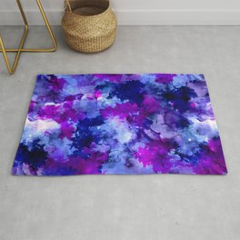 Modern blue purple watercolor brushstrokes paint Rug
