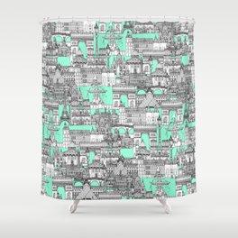 Paris toile aquamarine Shower Curtain