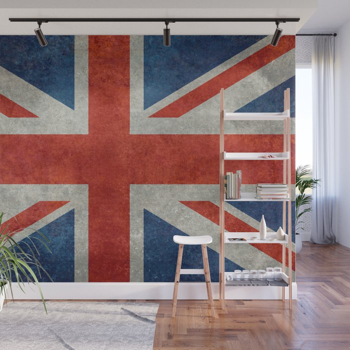 Uk British Union Jack Flag Bright Retro Wall Mural By