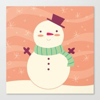 snowman Canvas Prints featuring Snowman by Claire Lordon