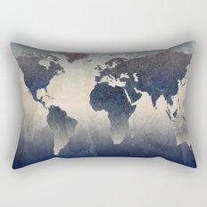 World Map Gray Rectangular Pillow