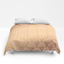 Gold and pink sparkling Mermaid pattern Comforters